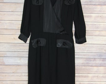 Vintage Black Dress with Black Satin trim
