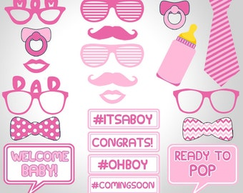Baby Shower Girl Photo Booth Props, Baby Shower Photo Booth Props, Pink Baby  Girl