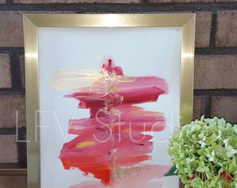Original Abstract Watercolor & Acrylic Painting Red Series #003 - LFV Studio