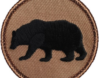 Bear Silhouette Patch (477) 2 Inch Diameter Embroidered Patch