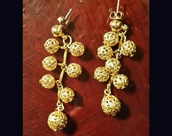 Etched gold dangle earrings