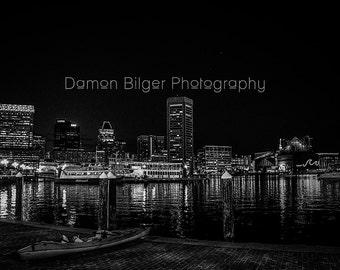 Baltimore Harbor Night Skyline B&W