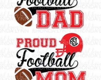 SALE! Proud Football Dad SVG, dxf, eps, jpg, png cut file, Football SVG, Proud Football Mom svg, Proud Football Mom Dad Digital Download