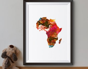 Africa Map - Art Print - Map Poster - Continent Illustration - Wall Art - Home Decor
