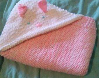 Hand knit bath snuggler