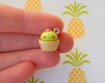 Potted Cactus - Polymer Clay Charm, Polymer Clay Jewelry, Charm, Cute