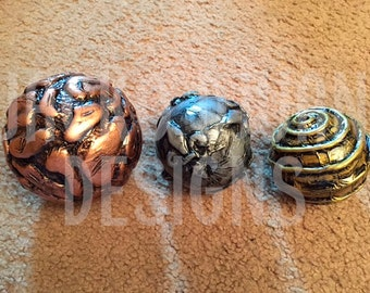 Set of 3 decorative ball gold, copper and silver.   Decorative Handmade Spheres.