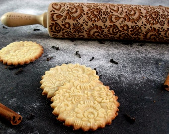 Folk - Embossing rolling pin, laser engraved rolling pin, Polish folk, folk flowers,  Folklor flower pattern, rolling pin for a gift