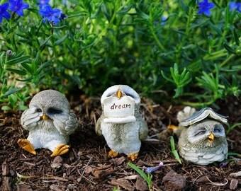 Miniature Fairy Garden & Terrarium Cute Little Owls Statue Set of 3