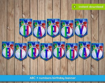 Pj Masks Banner - Printable happy birthday party banner decoration - INSTANT PDF DOWNLOAD