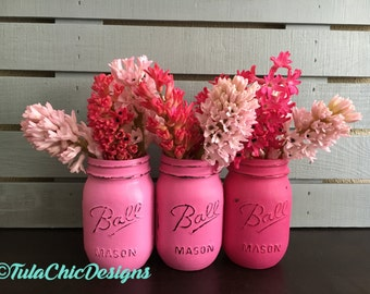 Ombre Ball Mason Jar Vase Set