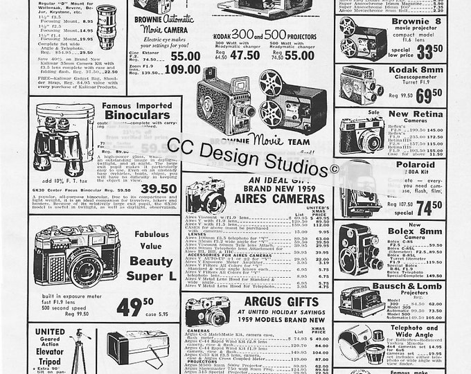 Vintage United Camera Exchange Magazine Ad 1960 - Kodak, Argus, Polaroid, Bolex, Bausch and Lomb, Kodak Film - NYC Stores  - Wall Decor