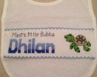 Personalised Baby Bib - Happy Turtle