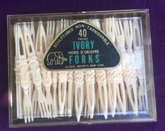 1950's Pseudo Ivory Hors D'oeuvre Forks