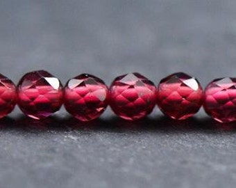 AAAAA 15Inches Faceted Garnet Beads, Natural Garnet Gemstone Beads, Full Strand, 3mm 4mm Genuine Red Stone Loose Beads to Make Jewelry