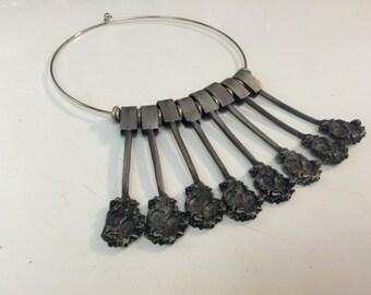 Silver metal choker necklace
