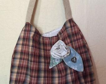 Vintage fabric totebag purse handbag carryall bag