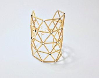 Art deco bracelet/ Roman Holiday brass bracelet/ handcrafted jewelry