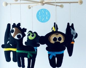 Ninja Baby Mobile, Baby Crib, Nursery Mobile