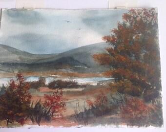 original watercolor rustic reds autumn scene