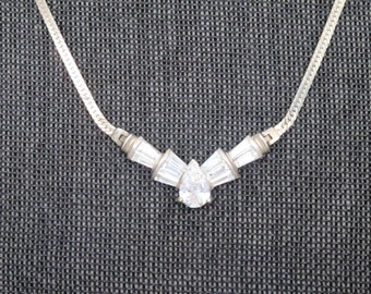 Stunning Vintage Silver and Rhinestone Necklace // Vintage Formal Rhinestone Necklace // FREE US SHIPPING