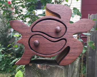 Sea Turtle Black Walnut and Plywood Bandsaw Jewelry Box - Endangered Species Conservation