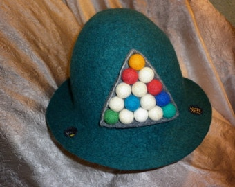 Billiard Mens Felted Hat Wool Green Cap Felt Cappelli Sauna Mütze Bath Accessories Billiard Ball Pills Birthday Husband Father Man Gift Him