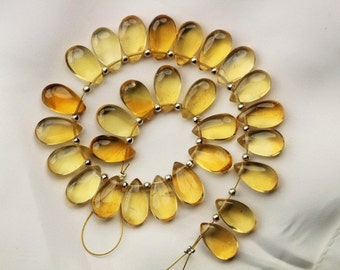27 piece smooth CITRINE pear briolette beads 7 x 13 mm approx
