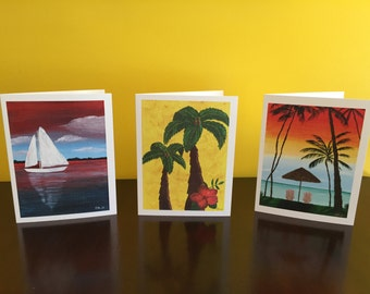 Greeting Cards, acrylic painting, palm tree, sunset, sailboat, jellyfish, beach art, tropical, sea life, cupcake, blank inside