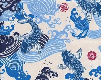 fabric 48cm Japanese Koi Carp design (sky bleu)