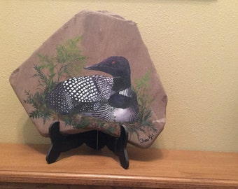 Loon Oil painting on rock