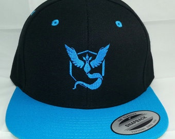 Pokemon GO Team Mystic Embroidered Snapback Baseball Hat / Black w/ Teal Bill Hat  Classic Yupoong Snapback Cap