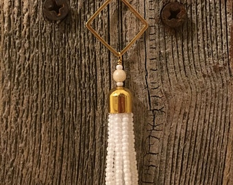 Gold tassel necklace white tassel necklace beaded taseel necklace statement necklace fringe necklace gift for her