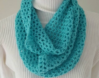 Crocheted turquoise scarf