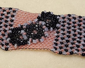 Navy & Coral Bracelet with beaded flowers