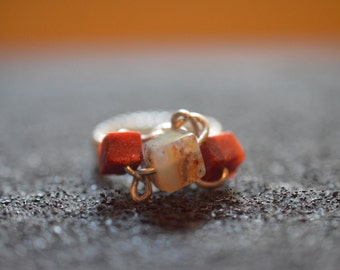 925 Silver ring with agate and foam coral, handmade