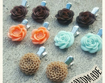Miniature Rose and Chrysanthemum Hair Clips