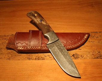 Damascus FIxed Blade knife with bone handle