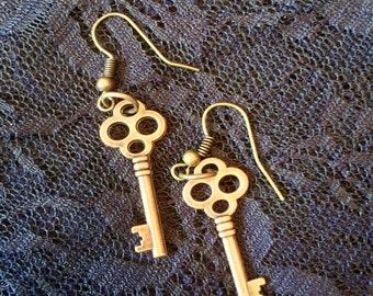 Brass Keys Earrings