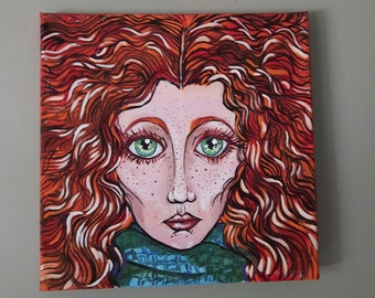 Original Canvas Painting of the Fiery Haired Girl