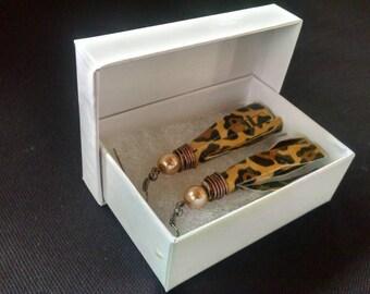 Cheetah print duct tape earrings