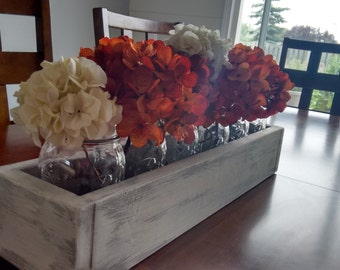 Rustic Table Centerpiece, Distressed Paint, Mason Jars, Flower Holder
