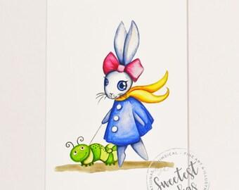 Watercolor Nursery Art, Bunny, Rabbit, Giclee Print, Original Artwork, Children's Illustrations, Nursery Wall Art