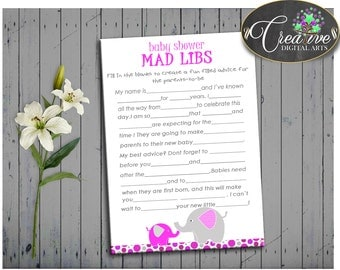 Pink Mammoth Baby Shower Dumbo Interactive Activity Verb MAD LIBS, Baby Shower Idea, Digital Print, Shower Activity - ep001