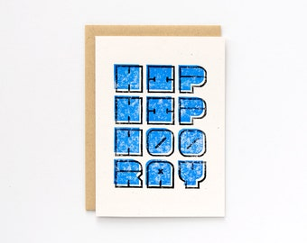 Hip Hip Hooray   Block Printed Card   Handmade Blank Greeting Card   Hand Lettering   Linocut   Congrats   Congratulations   Birthday