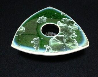 Vintage Handmade Unique, Crystalline Glazed Porcelain Triangular Vase  (TTT5)
