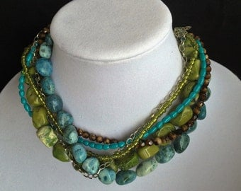 Green and turquoise collar necklace