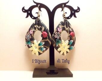 Clay pendants earrings