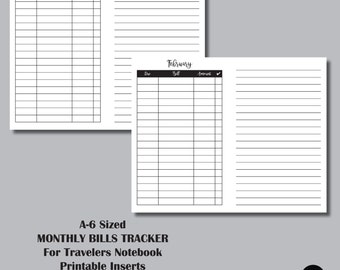 12 MONTH BILL TRACKER: A6 Sized Travelers Notebook Insert