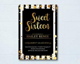 Sweet 16 Invitations, Printable Sweet Sixteen Invitations, Post Card, Black & Gold Sweet 16